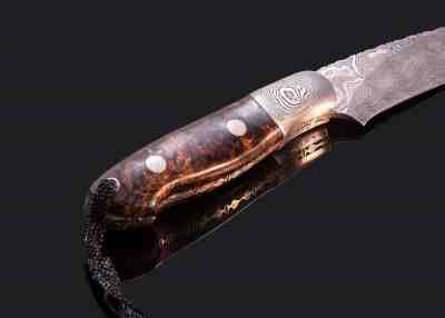 Cascade 2 Hunter Damascus with Stabilized Spalted Maple Handle other view