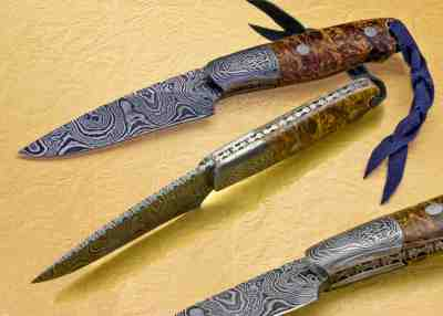 Cascades Hunter Damascus with Stabilized Maple Handle
