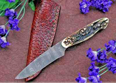 Ladder Damascus and Stag Bird and Trout Knife