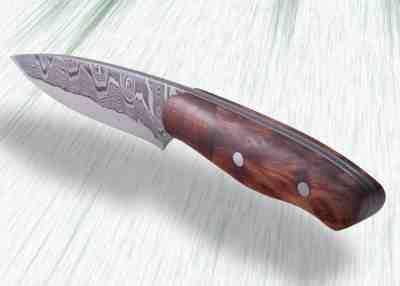 Kernmantel Damascus Hunter with Redwood Handle