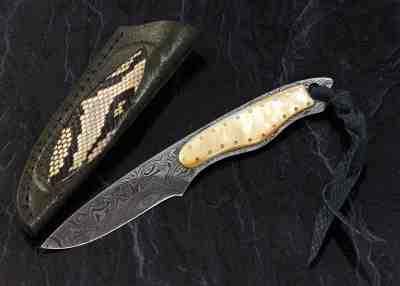 Gold Lip Pearl and Damascus Dress Knife