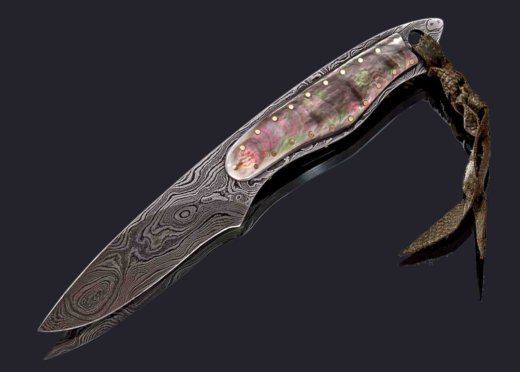 Black Lip Pearl and Damascus Dress Knife | Haslinger Knives