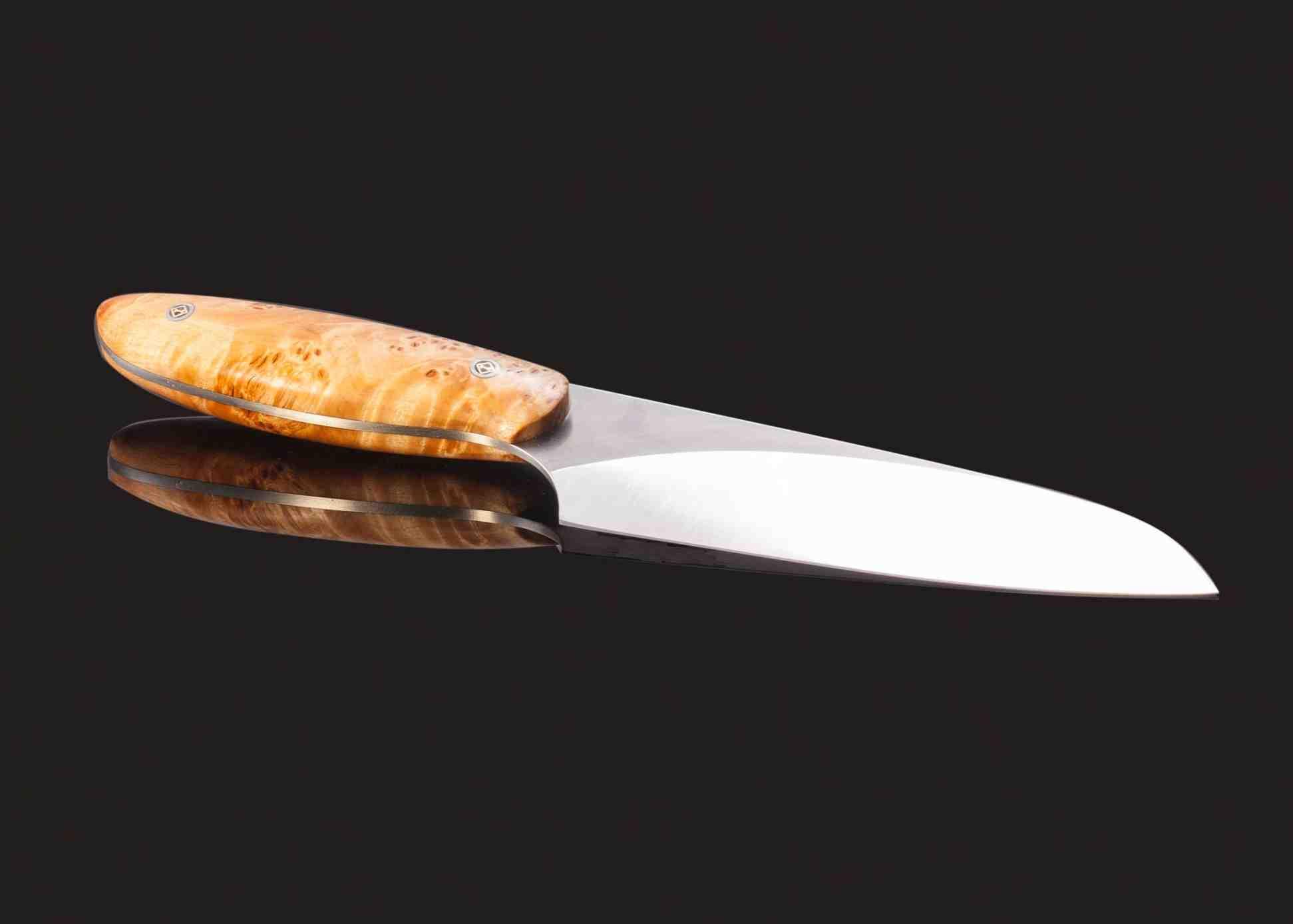 evolution chef knife 142 mm blade with blond maple burl handle haslinger knives. Black Bedroom Furniture Sets. Home Design Ideas