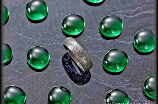 Stainless Raindrop Damascus Ring
