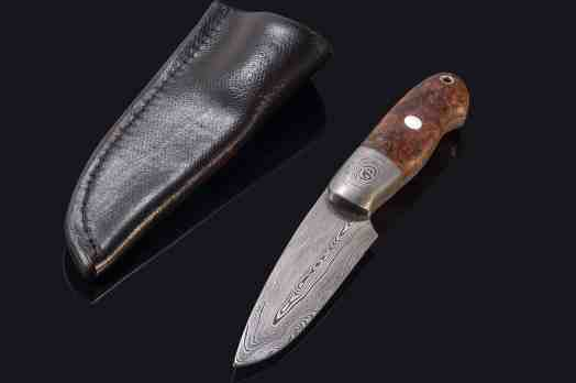 Castle 2 Damascus Hunter with Stabilized Maple Burl Handle
