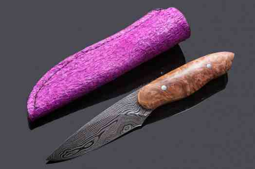 Damascus Huntress with Maple Burl Handle and Fuschia Perch Leather