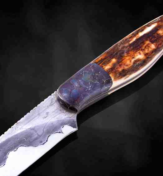 Campo de Cielo Meteorite and O1 Damascus Hunting Knife