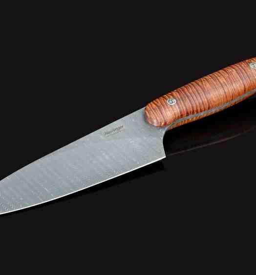 Evolution Damascus Chef Knife with Premium Curly Koa Handle