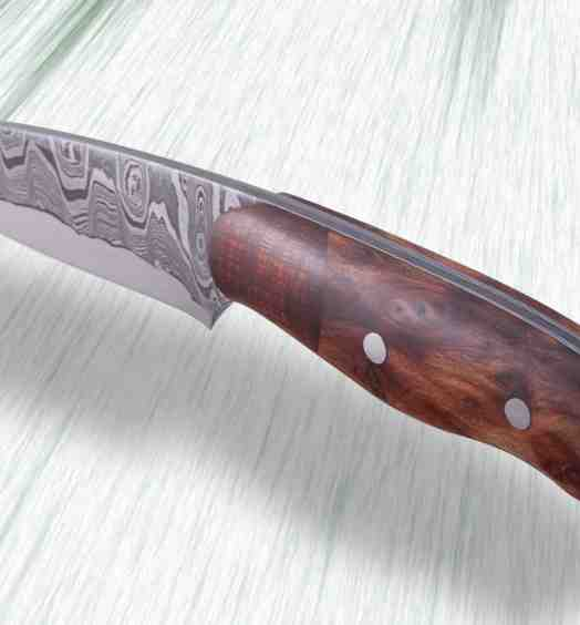 Kernmantel Damascus Hunter with Redwood Handle