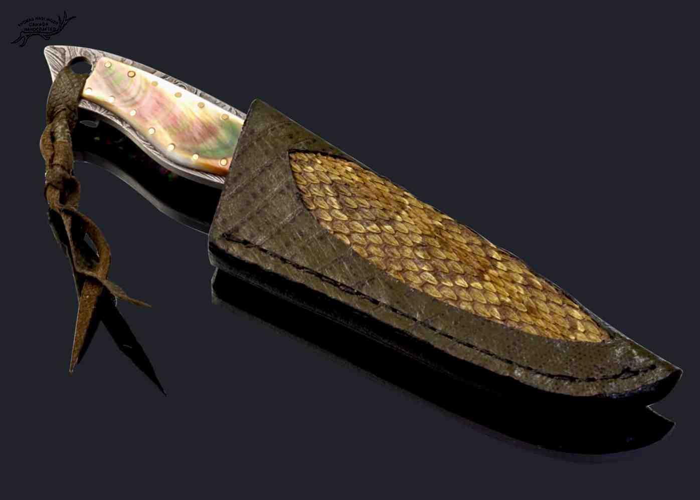 Black Lip Damascus Dress Knife with rattlesnake overlay sheath