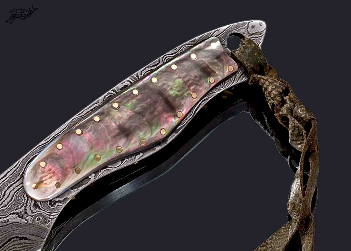 Black Lip Damascus Dress Knife Handle