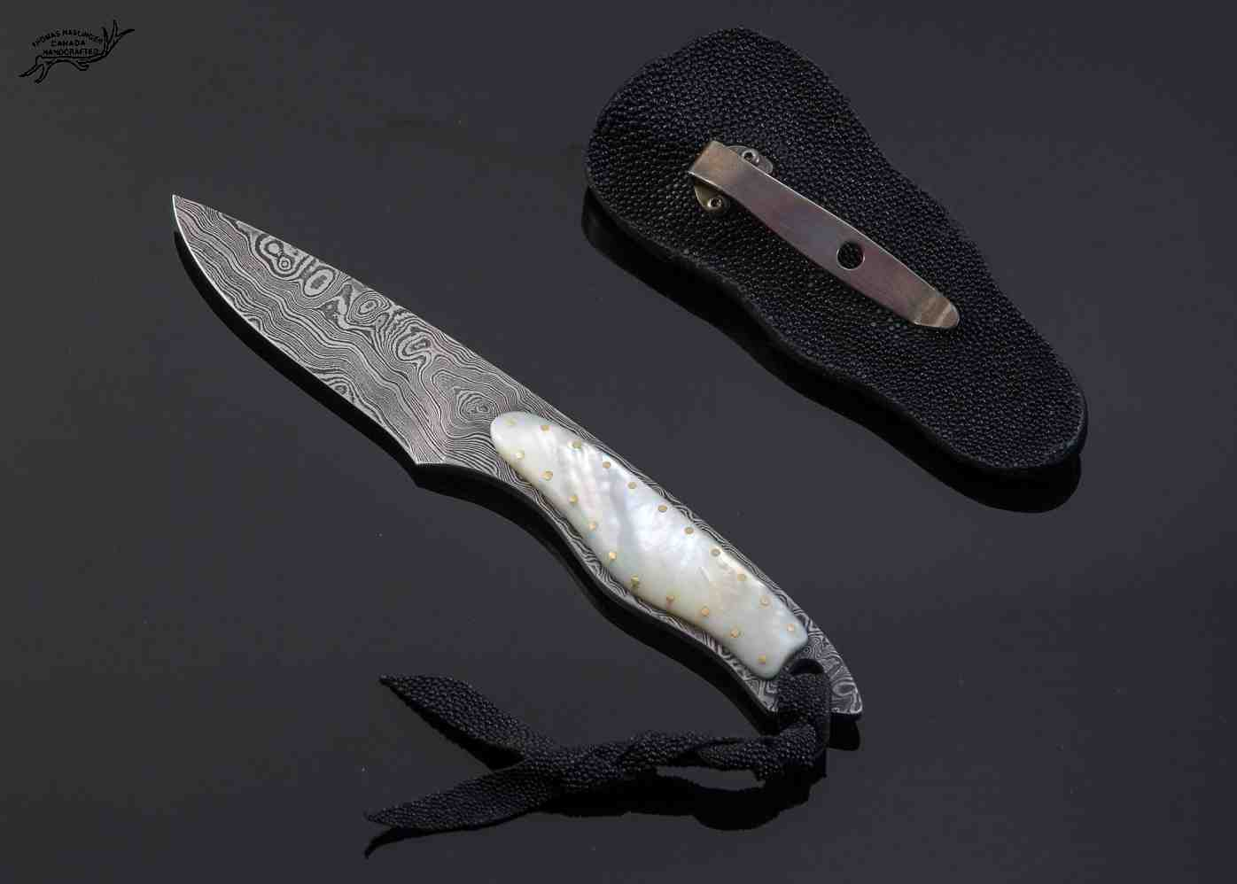 Mother of Pearl and Damascus Dress Knife
