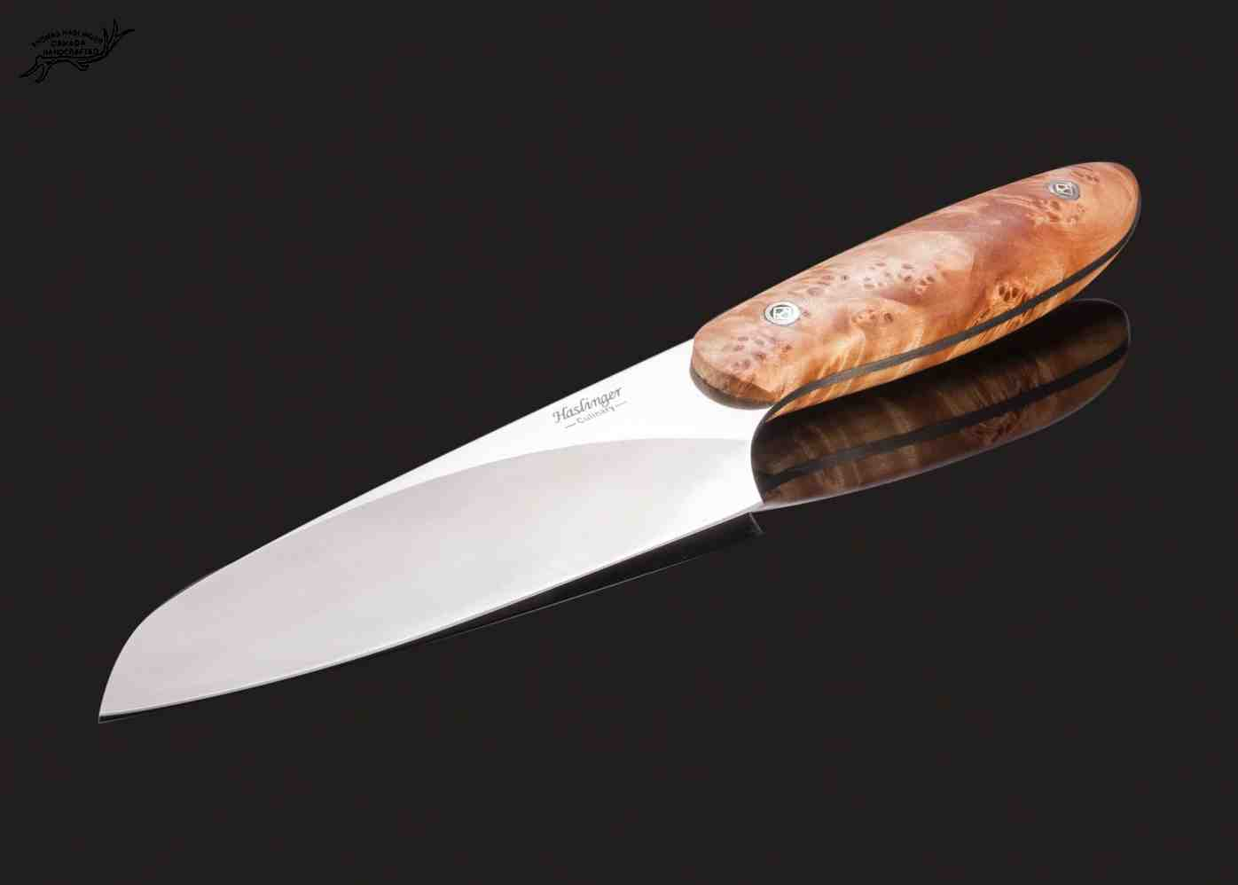 Evolution Chef Knife 142 mm Blade with Blond Maple Burl Handle