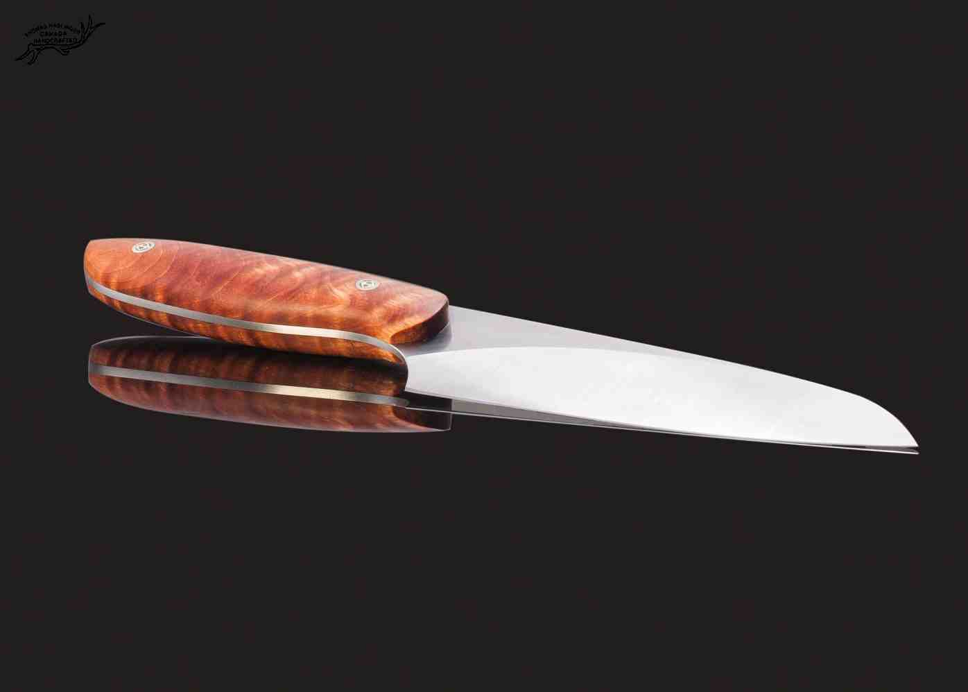 Evolution Chef Knife 142 mm Blade with Blond Maple Root Burl Handle other view