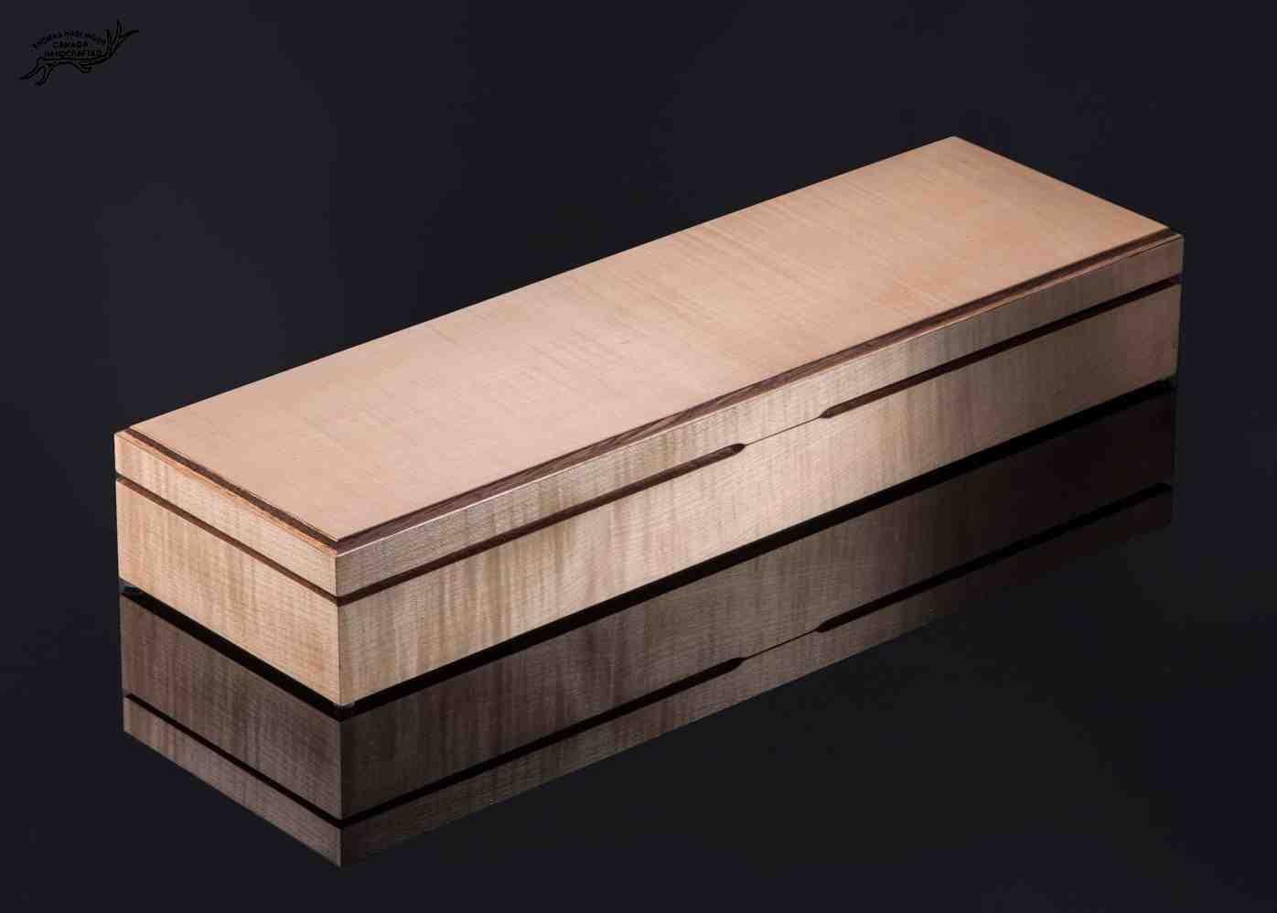Raindrop Damascus and Premium Curly Koa Carving Set in presentation box, closed