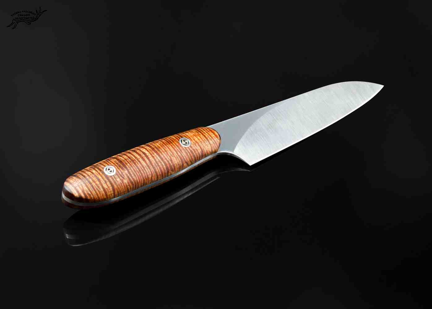 Santuko paring knife with curly koa handle os view