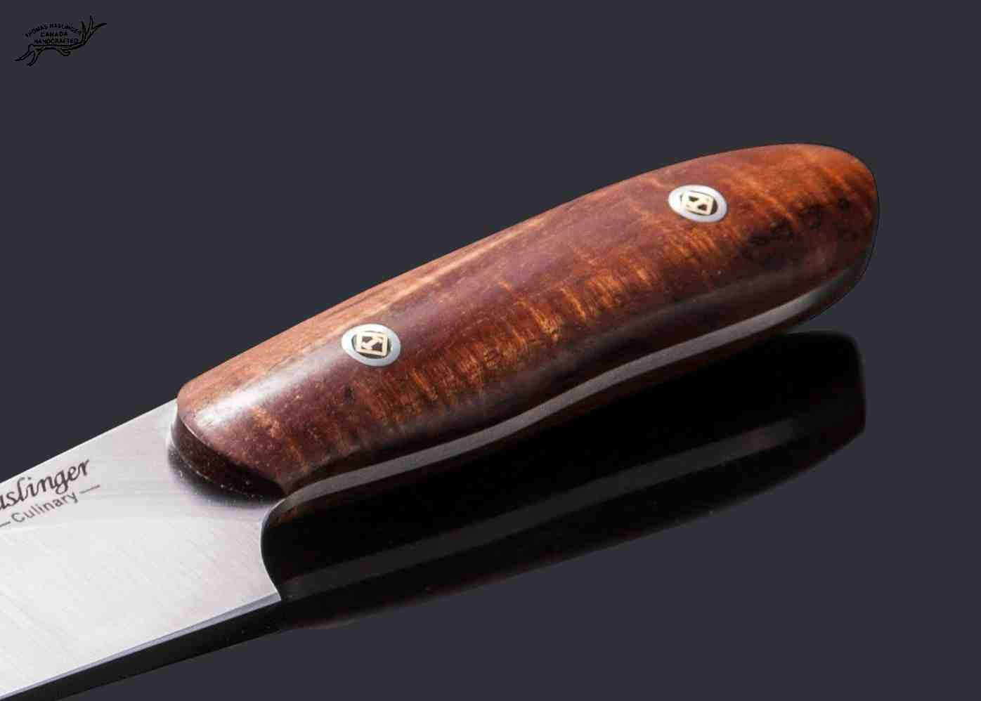 Santuko paring knife handled in spalted koa - handle view