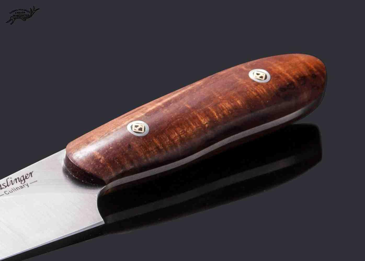 Santuko paring knife handled in spalted koa - handle view