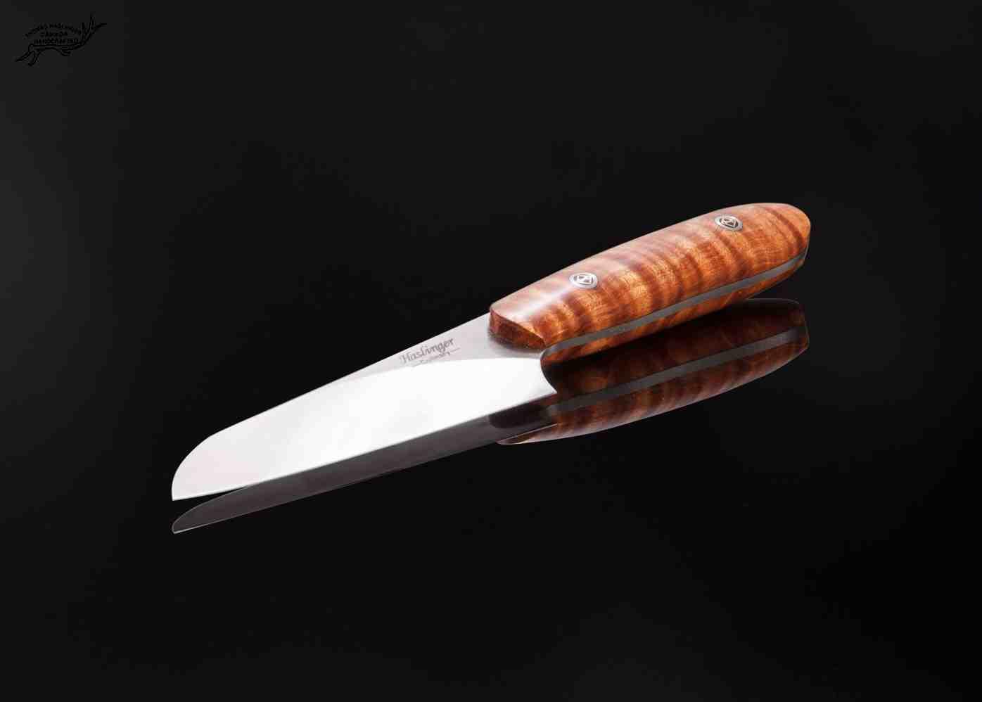 Santuko paring knife handled in stabilized fiddleback maple