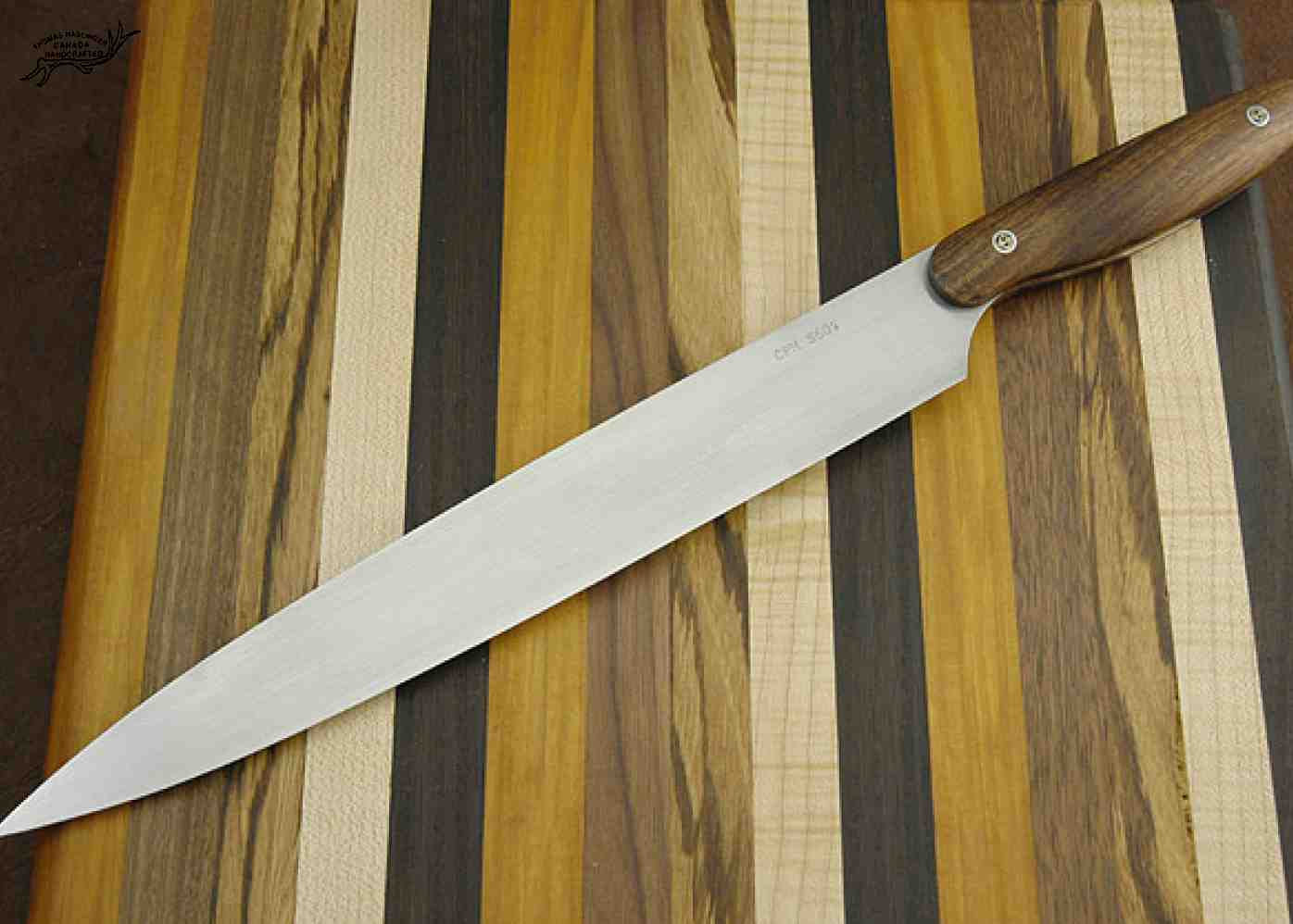 Sashimi Chef Knife with Curly Koa Handle right view