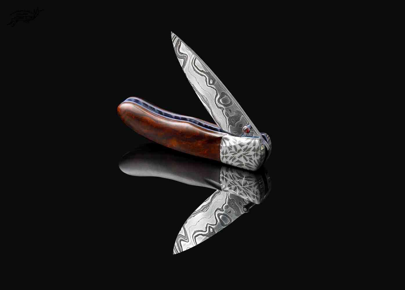 Desert Ironwood Handled Damascus folding knife