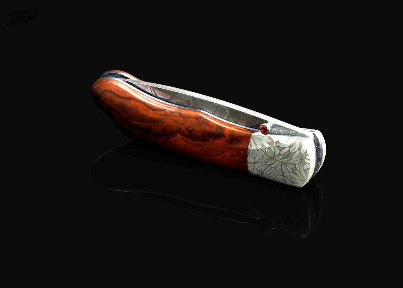 Desert Ironwood Handled Damascus folding knife side view closed