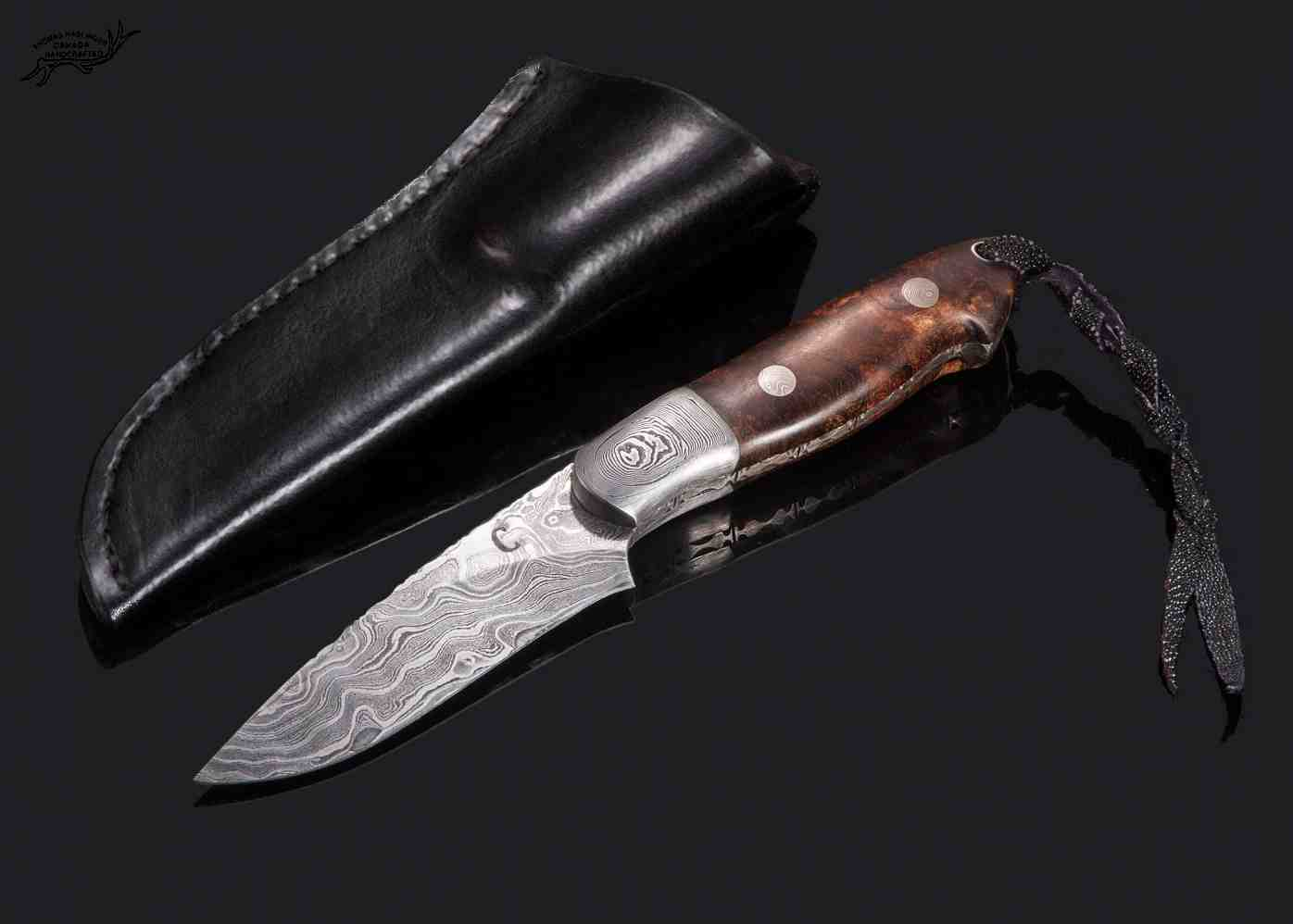 Cascade 2 Hunter Damascus with Stabilized Spalted Maple Handle sheath