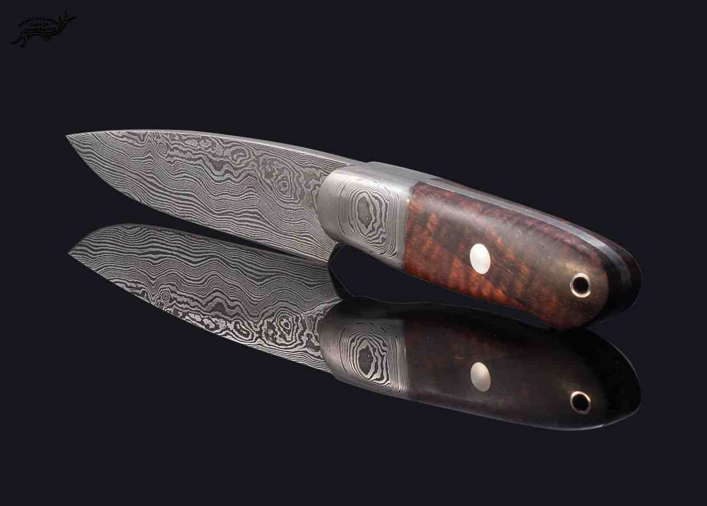 Castle Damascus Hunter with Stabilized Spalted Koa Handle top