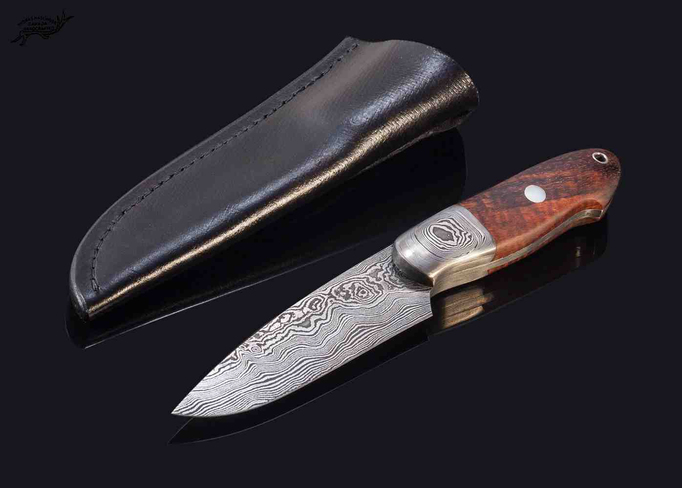 Castle Damascus Hunter with Stabilized Spalted Koa Handle