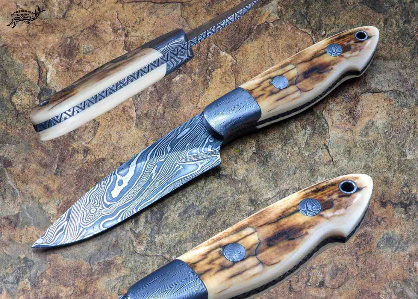 Crowsnest Damascus and Ivory Hunter
