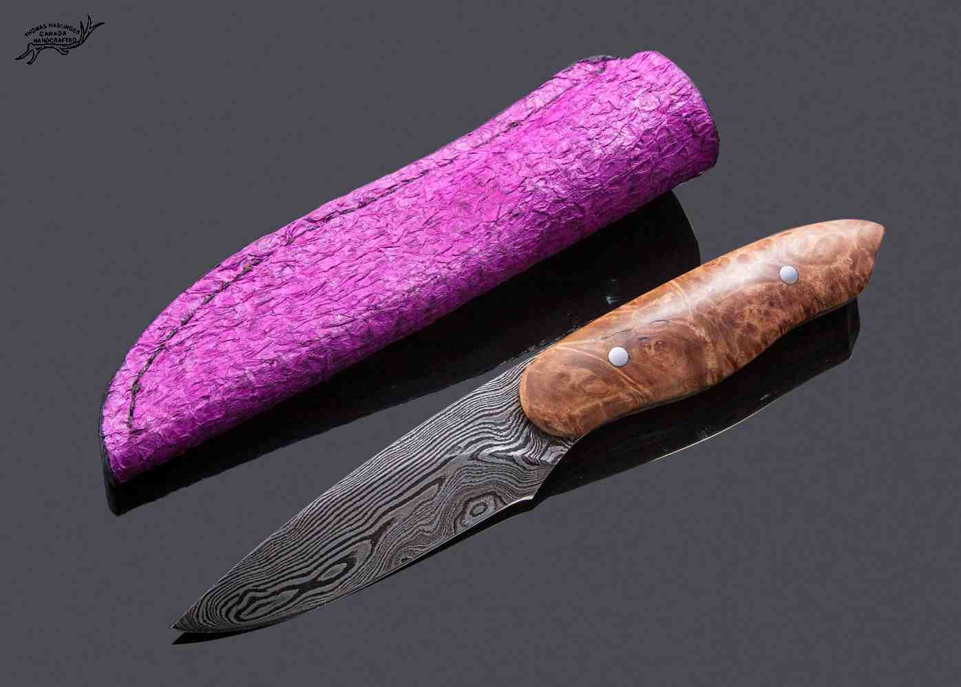 Damascus Huntress with Maple Burl Handle and Fuchsia Perch Leather