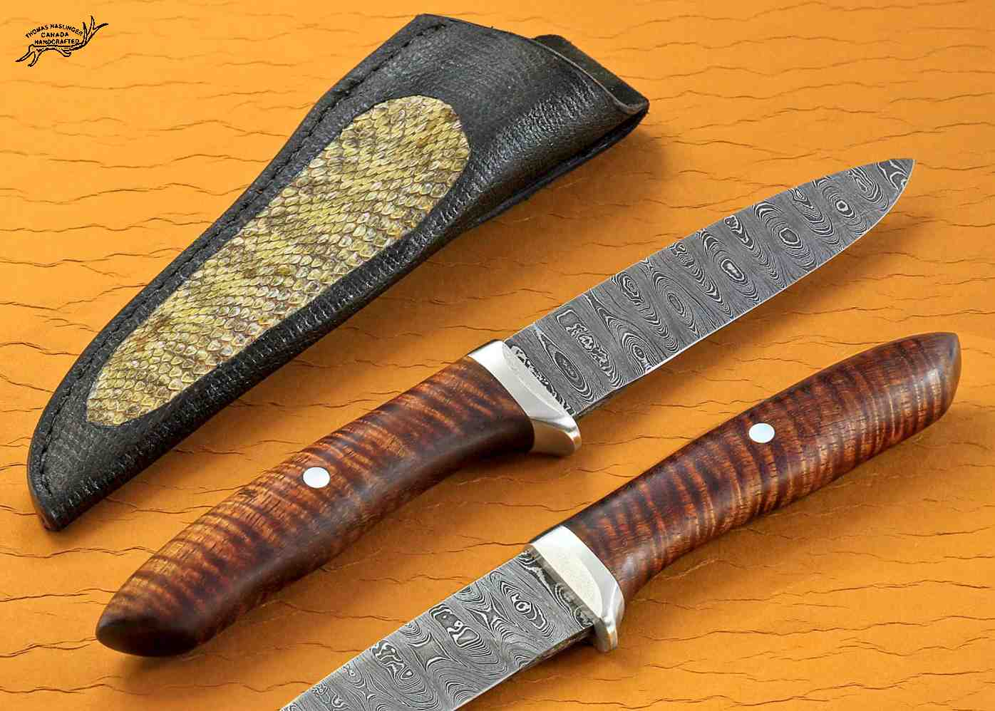 Ladder Damascus Hunter with Curly Koa Handle mulitple