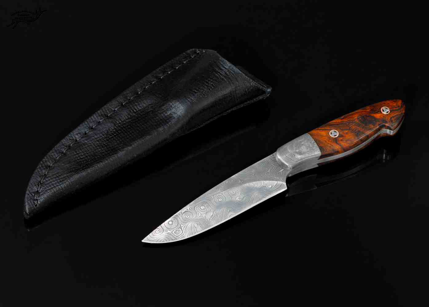 Raindrop Damascus Bird and Trout Knife with Desert Ironwood Handle