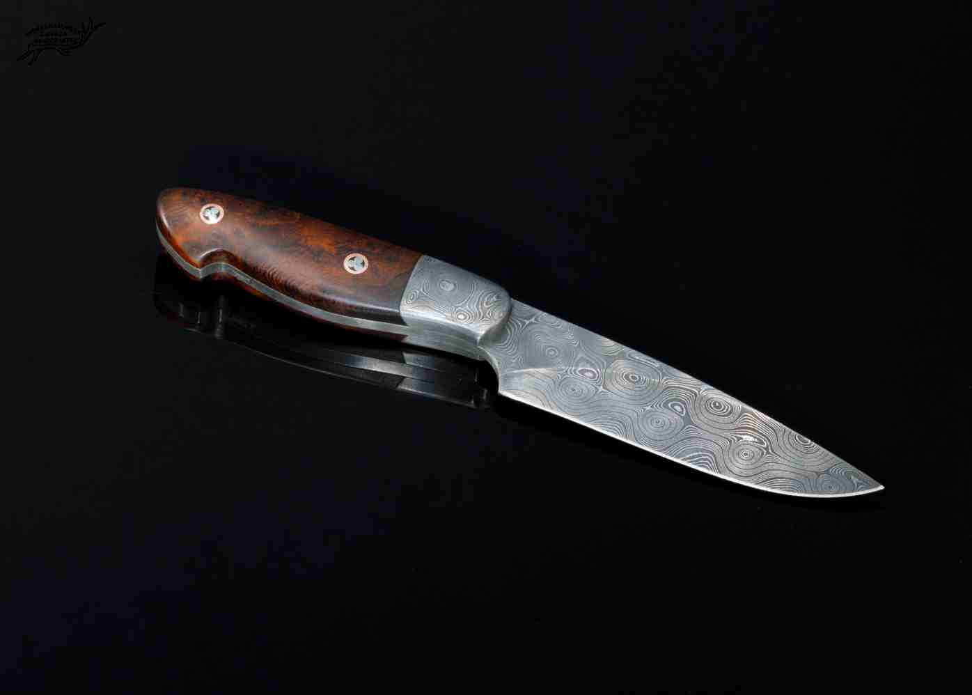 Raindrop Damascus Bird and Trout Knife with Desert Ironwood Handle left view