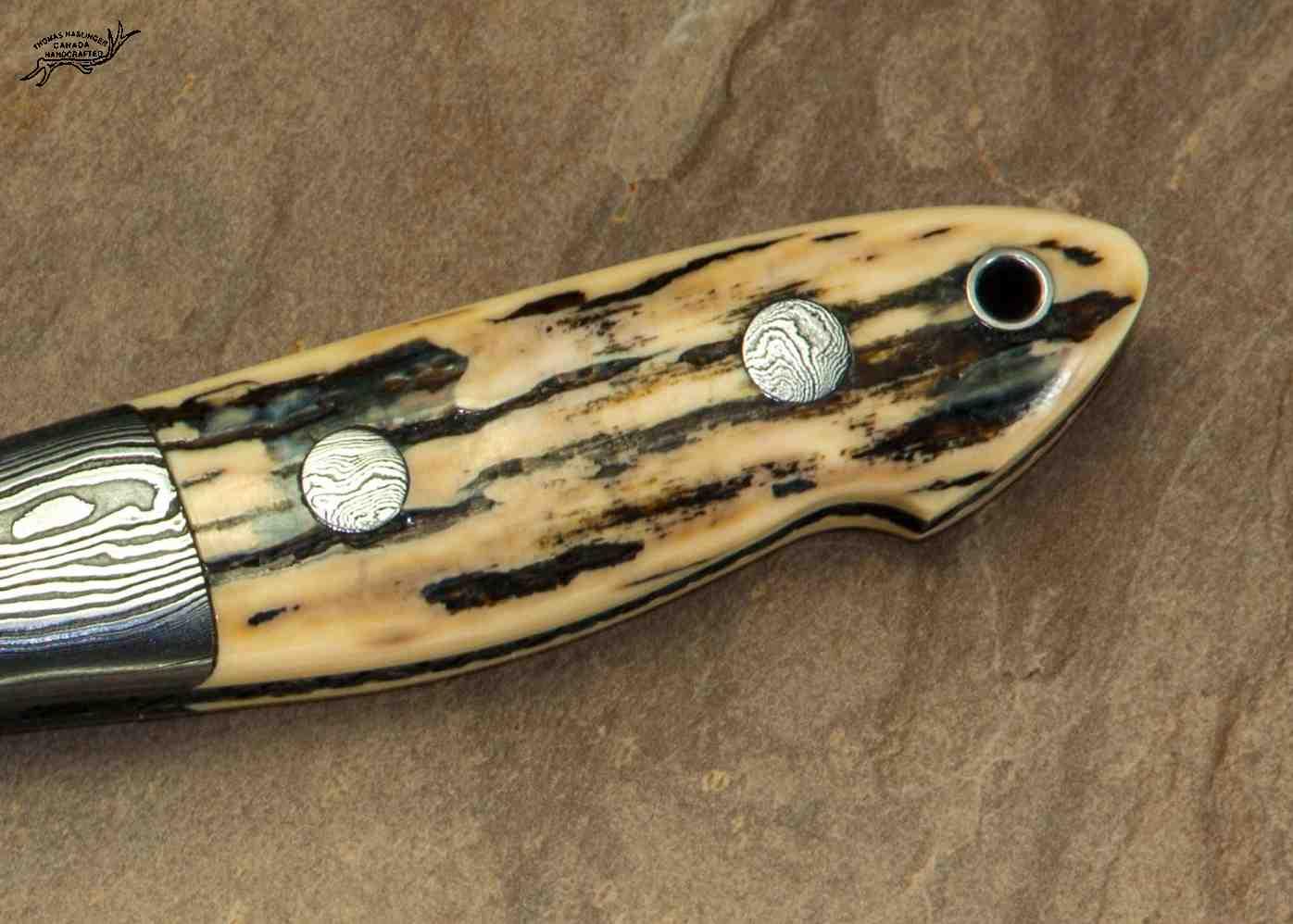 Random Damascus and Ivory Hunter Pin View