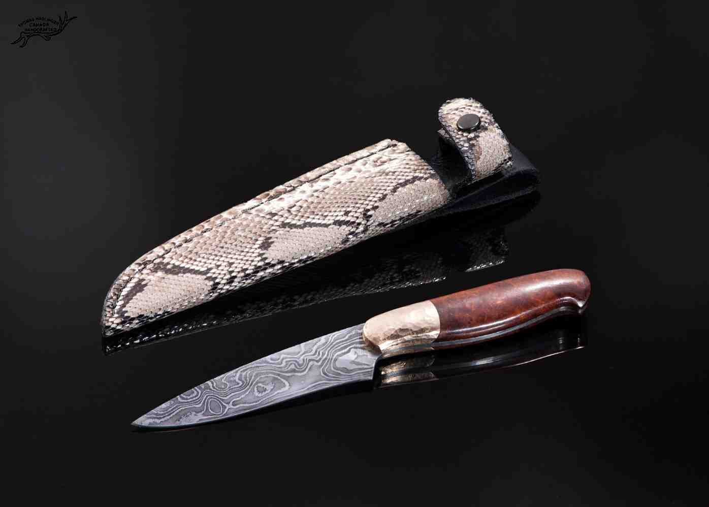 Random damascus gentlemen knife with hammer textured bronze bolsters and python sheath