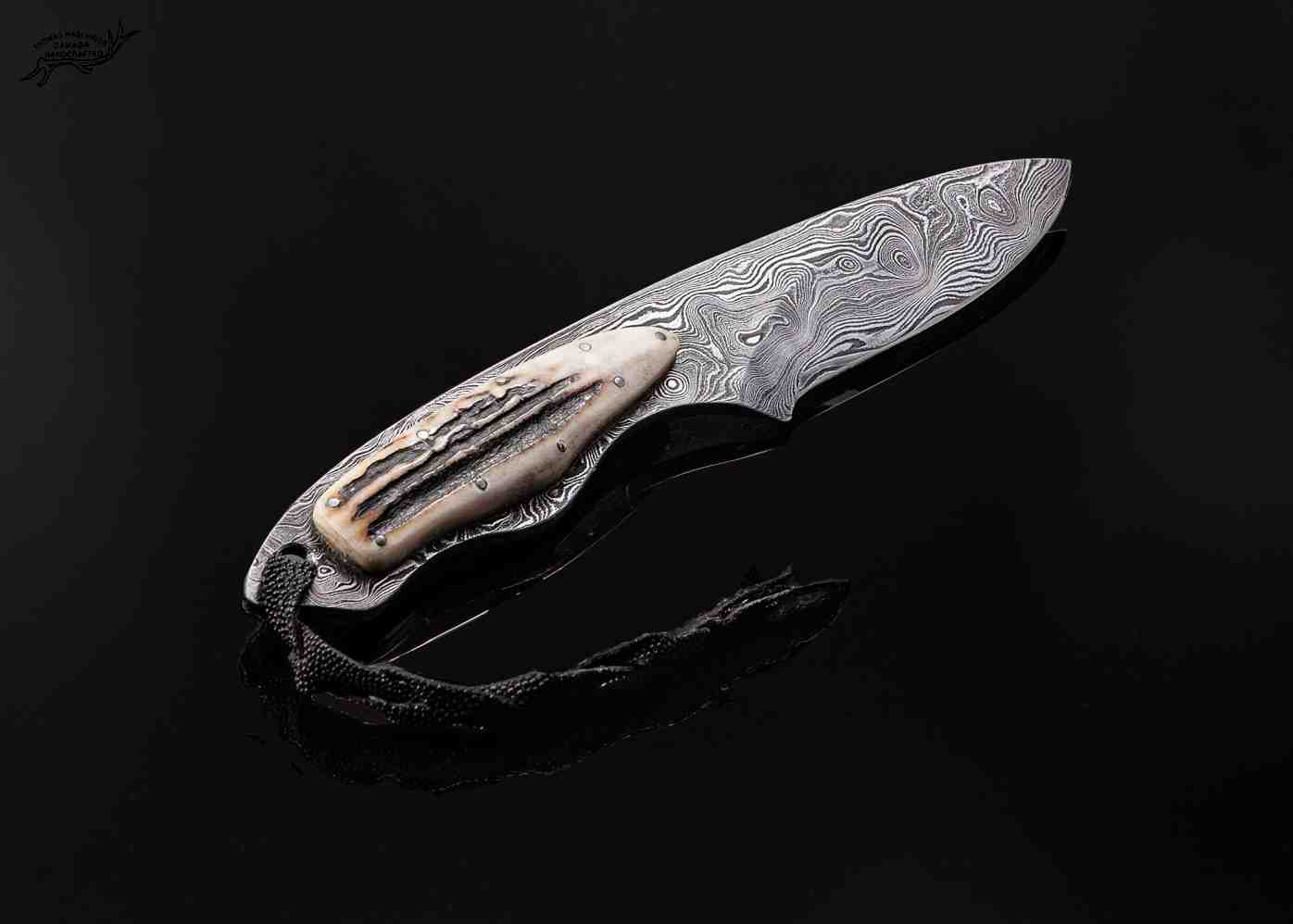 Random Damascus gentlemen knife with stag handle