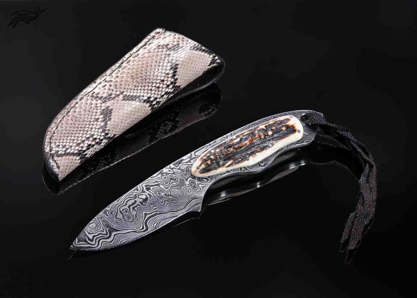 Random Damascus gentlemen knife with stag handle and python sheath