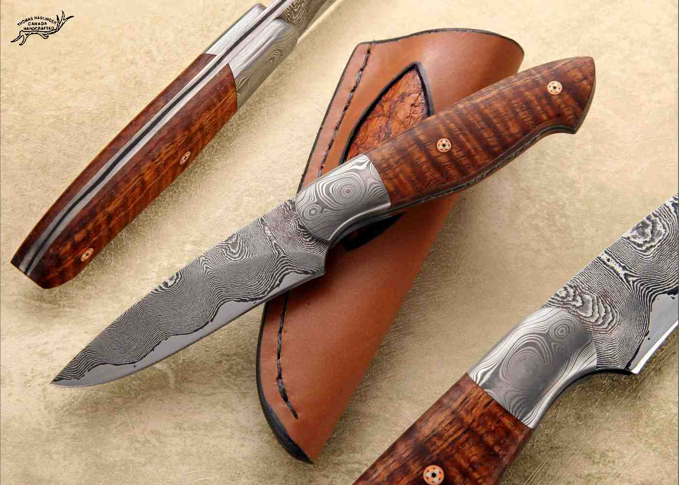 Kernmanteli Bird and Trout Knife with curly koa