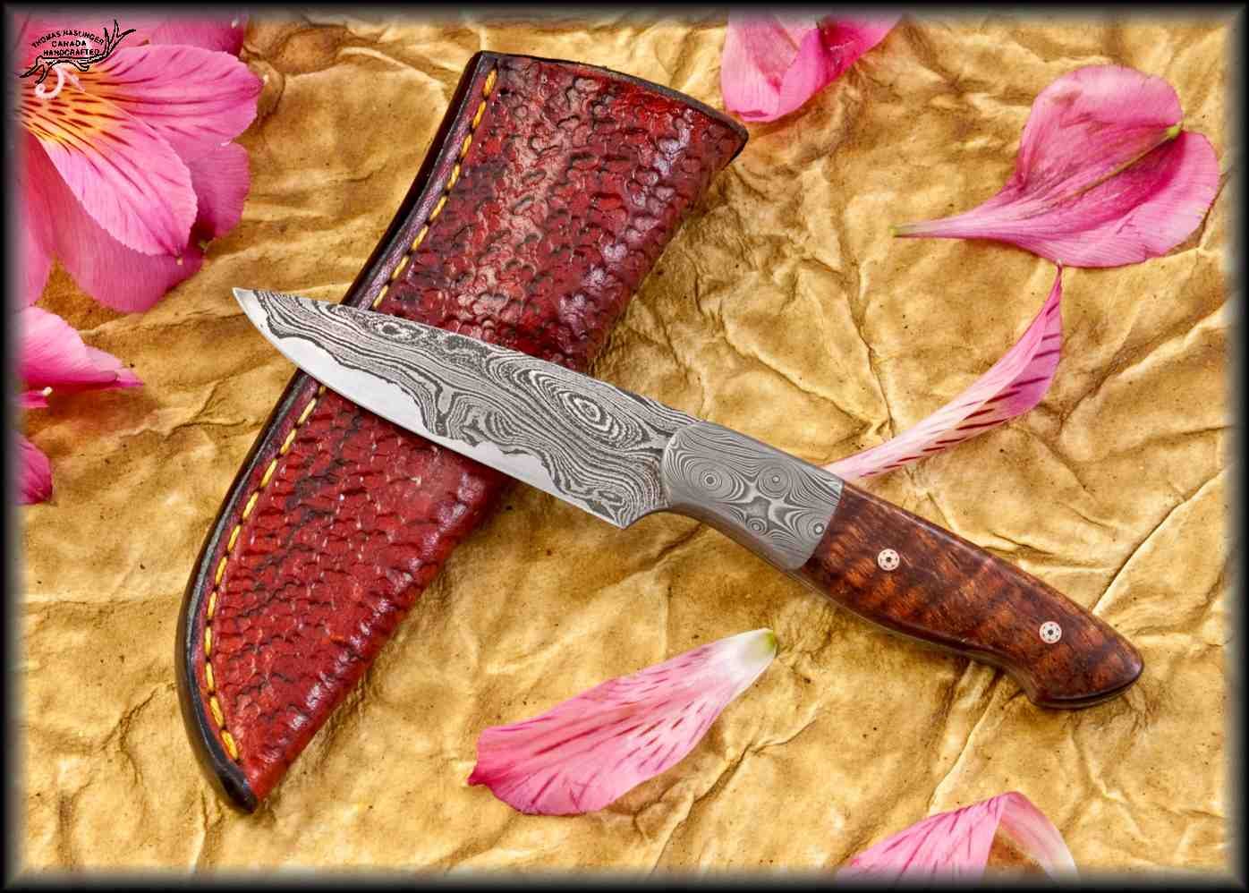 San Mai Damascus and Koa Bird and Trout with mother of pearl