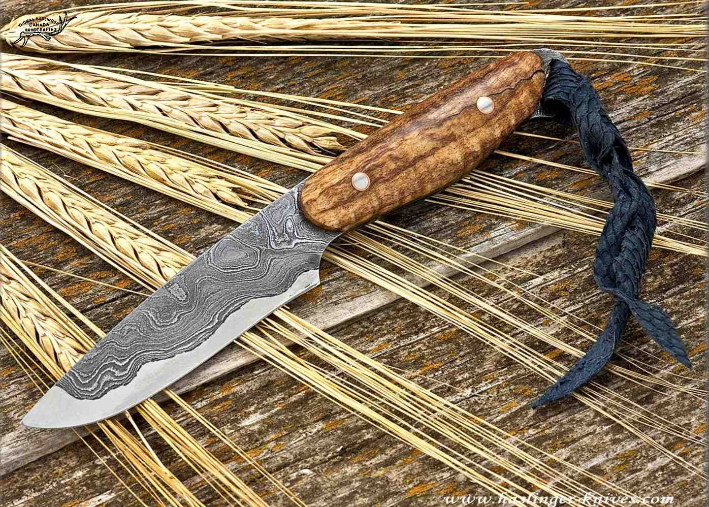 Kernmantel Damascus Bird And Trout Knife Haslinger Knives