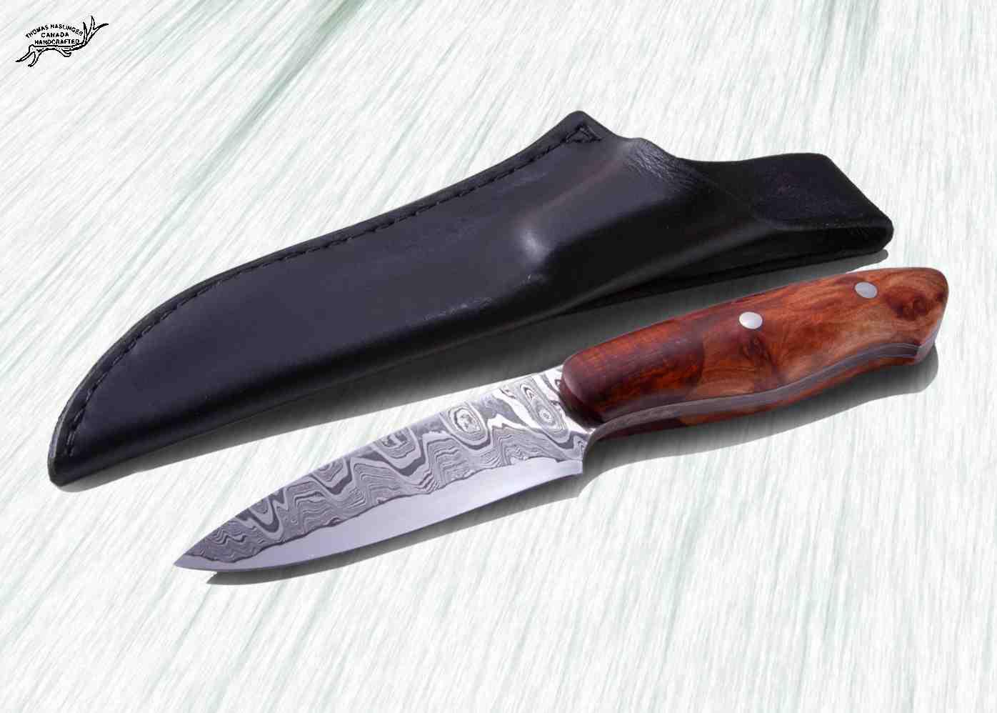 Kernmantel Damascus Hunter with Redwood Sheath