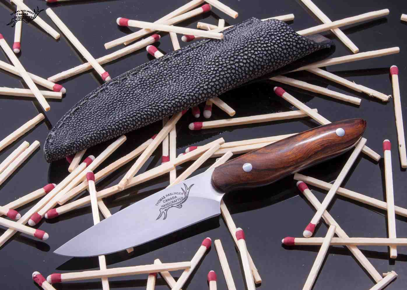 Desert Ironwood and BG42 Stainless Bird and Trout Knife with Shagreen Stingray Sheath