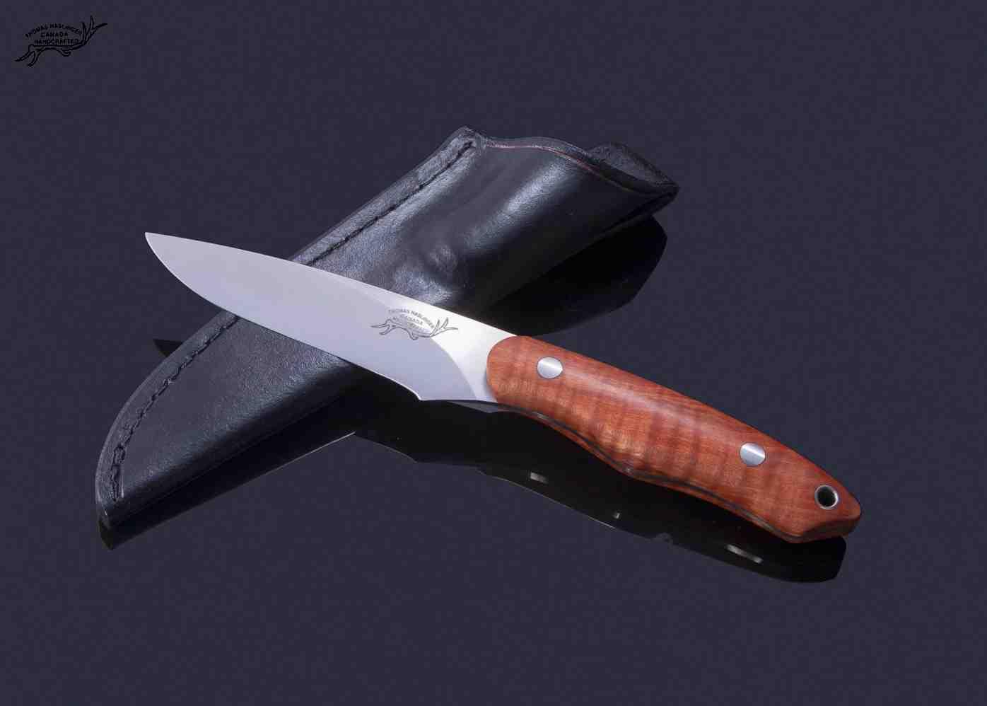 Fiddleback maple utility knife in cpm s vn stainless