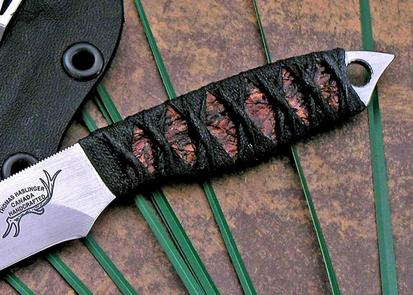 Firefly Neck Knife with Cord Wrap close up