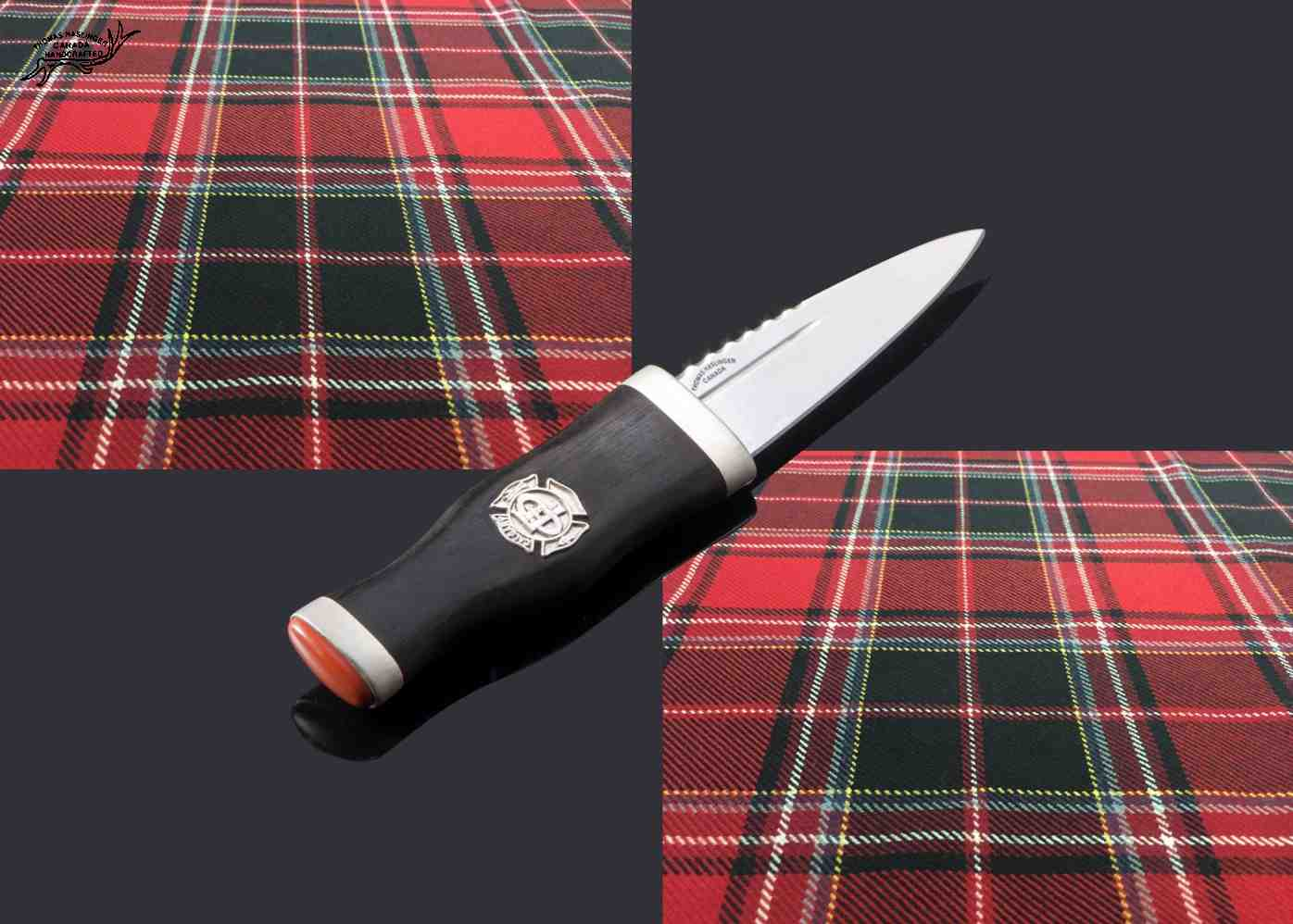 Sgian Dubh with German Silver Fittings and Red Jasper Pommel Stone single view