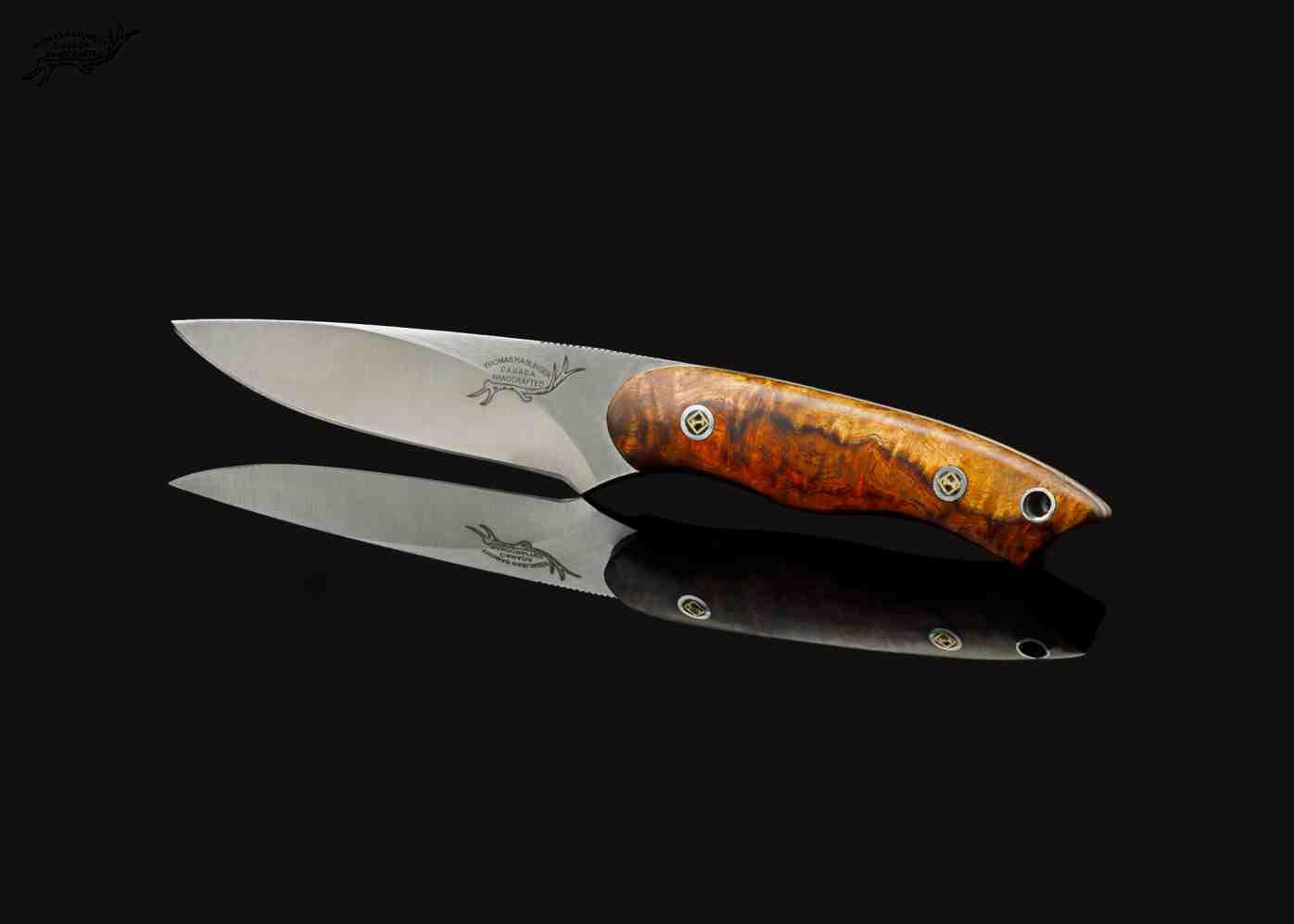 Two toned Thuya Burl Utility Knife side view