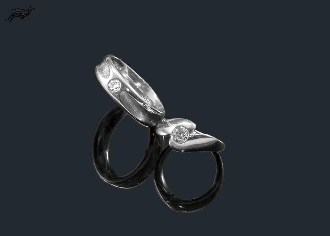 Platinum wedding bands with princess cut diamonds